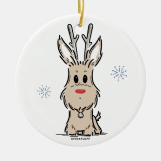 Terrier-Ren-Verzierung Rundes Keramik Ornament