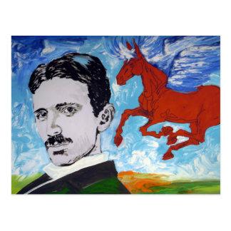 Tesla weiß postkarte