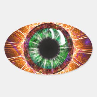 Teslas andere Augen-Fraktal-Kunst Ovaler Aufkleber