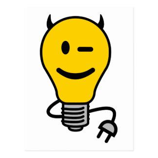 Teufel-Glühlampe mit dem Stecker-Schwanz Postkarte