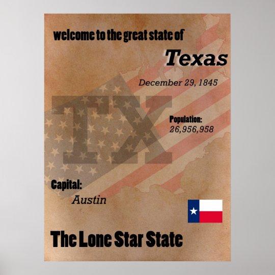 Texas der einzige Stern-Staats-Klassiker Poster