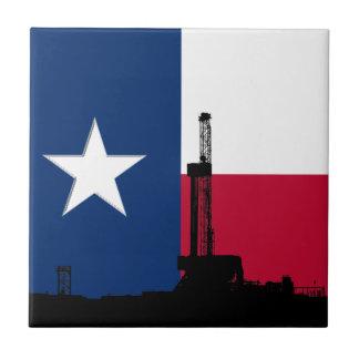 Texas-Flaggen-Erdölbohrungs-Anlage Kleine Quadratische Fliese