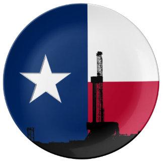 Texas-Flaggen-Erdölbohrungs-Anlage Teller