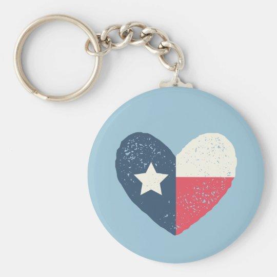 Texas-Herz-Flagge rundes Keychain Standard Runder Schlüsselanhänger