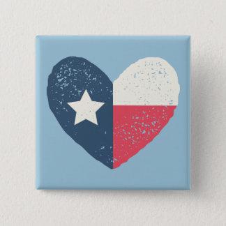 Texas-Herz-Flaggen-Button w/TEXAS Quadratischer Button 5,1 Cm