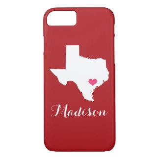 Texas-Herz-Kastanienbraun-Gewohnheits-Monogramm iPhone 8/7 Hülle