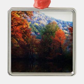 Texas-Hügel-Land-Fall Quadratisches Silberfarbenes Ornament