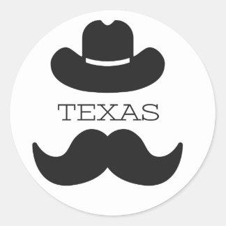 Texas im Weiß Runder Aufkleber