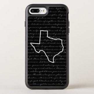 Texas/irgendein Staats-Kontur-Zeichnen + Text OtterBox Symmetry iPhone 8 Plus/7 Plus Hülle