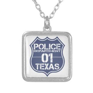 Texas-Polizeidienststelle-Schild 01 Versilberte Kette