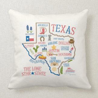 Texas-Staats-Sehenswürdigkeit-Illustrations-Kissen Kissen