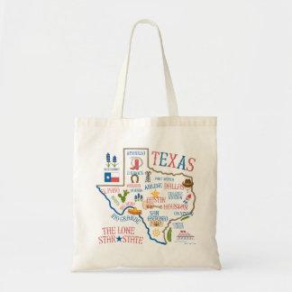 Texas-Staats-Sehenswürdigkeit-Illustrations-Tasche Budget Stoffbeutel