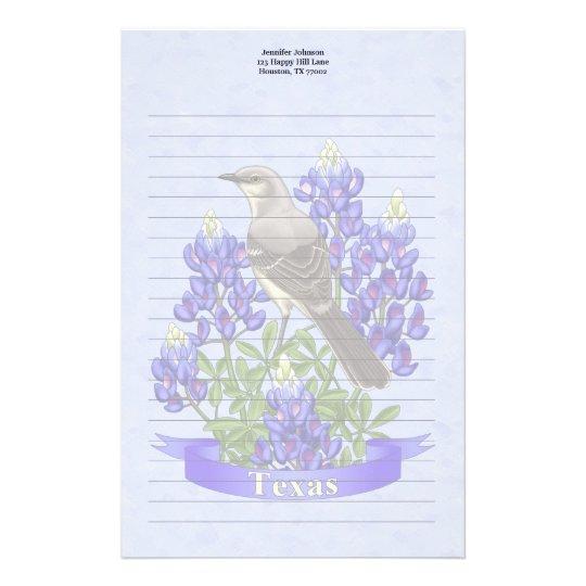 Texas-Staats-Spottdrossel u. Bluebonnet-Blume Druckpapiere