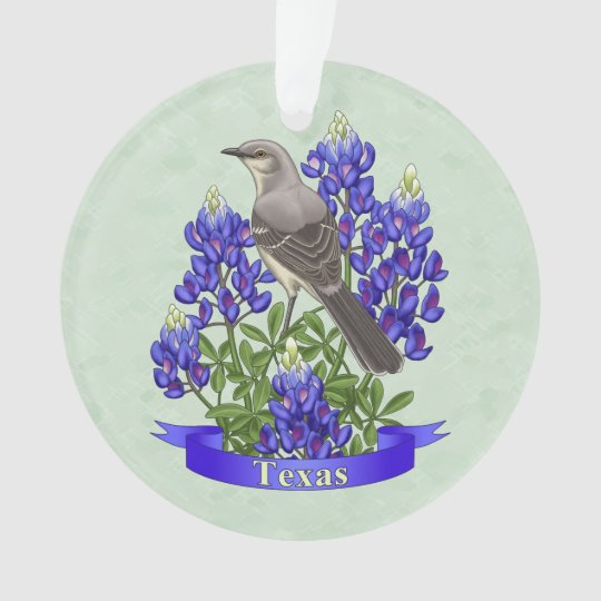Texas-Staats-Spottdrossel u. Bluebonnet-Blume Ornament