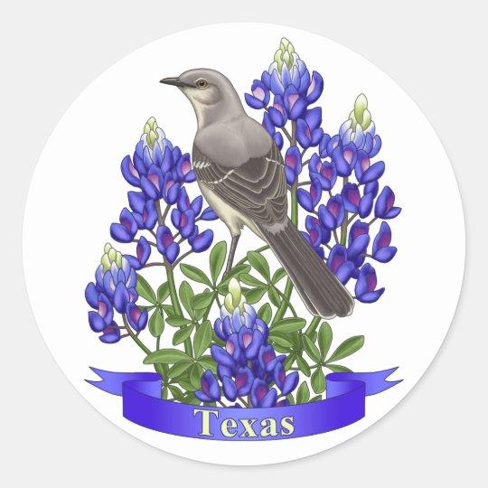 Texas-Staats-Spottdrossel u. Bluebonnet-Blume Runder Aufkleber