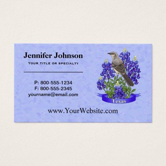 Texas-Staats-Spottdrossel u. Bluebonnet-Blume Visitenkarte