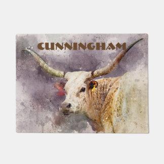 TexasLonghornwatercolor-Foto-abstraktes modernes Türmatte