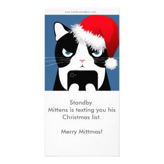 Textes de Noël Photocard de mitaines Carte Avec Photo