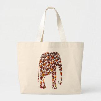 Textile d'impression avec l'éléphant rouge et jaun sac en toile jumbo