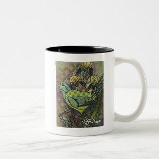 Textilkunst-Vogel-Kaffee-Tasse Zweifarbige Tasse