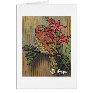Textilkunst-Vogel Notecard Karte