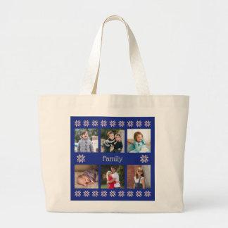 Textmarine-Rahmenwinter der Fotos der Familie 6 Jumbo Stoffbeutel