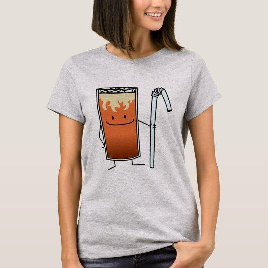 Thailändisches Eistee-u. Bendy Stroh-glückliches T-Shirt
