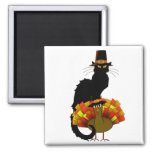 Thanksgiving Le Chat Noir avec le pèlerin de la Magnet Carré