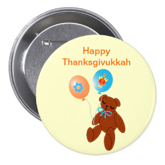 Thanksgivukkah Teddybär mit Ballon-Knopf Runder Button 7,6 Cm