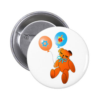 Thanksgivukkah Teddybär mit Ballonen Runder Button 5,1 Cm