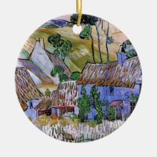 Thatched Dach-Hütten Van Gogh durch Hügel, feine Keramik Ornament