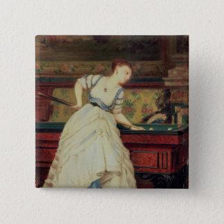 The Game von Billard, 19. Jahrhundert Quadratischer Button 5,1 Cm