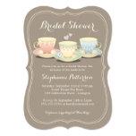 Thé nuptiale chic de douche de trio de tasse de carton d'invitation  12,7 cm x 17,78 cm