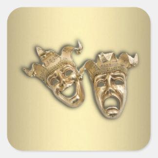 Theater-Gold Quadratischer Aufkleber