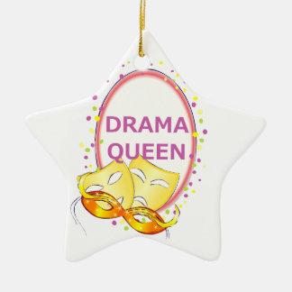 Theater-Masken-Komödien-Tragödie der Keramik Stern-Ornament