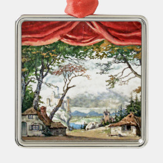 THEATRE BACKDROP DECOR, BALLETT RUSES GISELLE CARD SILBERNES ORNAMENT