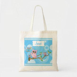 Thème de crèche de hibou de bébé bleu sac en toile budget