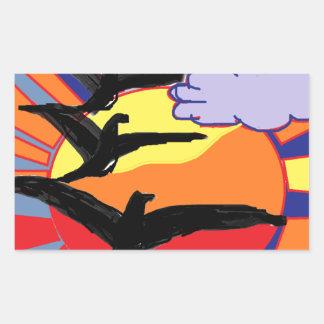 Thème d'oiseaux autocollant en rectangle