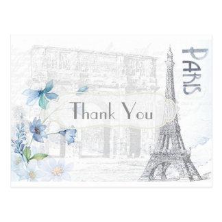 Themenorientiertes Paris danken Ihnen Postkarte