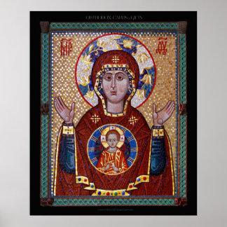 "Theotokos ""des Zeichens"" Mosaik Ikone Poster"