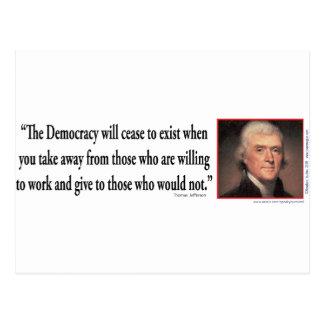 Thomas Jefferson auf Demokratie Postkarte