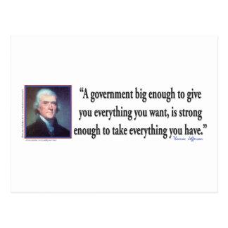 Thomas Jefferson auf einer großen Regierung Postkarte