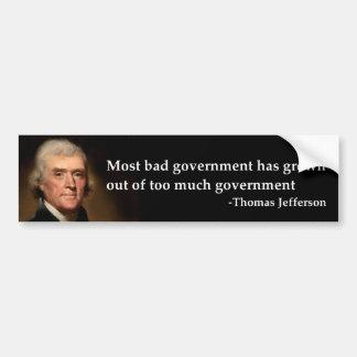 Thomas Jefferson - schlechte Regierung Autosticker