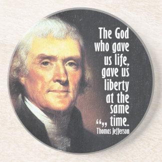 Thomas- Jeffersonzitat auf Gott und Freiheit Sandstein Untersetzer