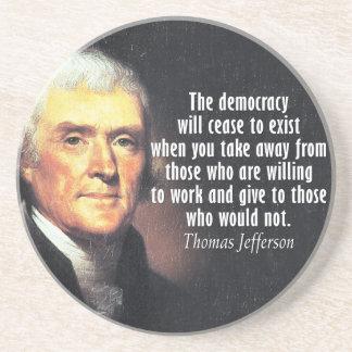 Thomas- Jeffersonzitat auf Sozialismus Getränkeuntersetzer