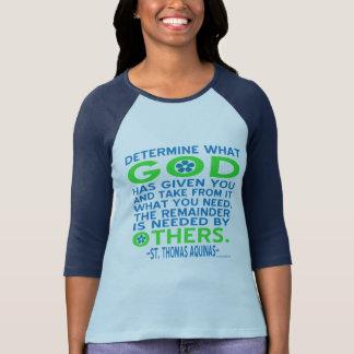 Thomas von Aquin Gott gegebenes Blau und Grün T-Shirt