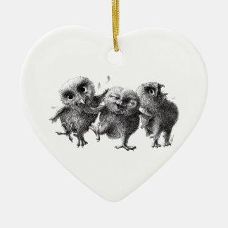 Three Crazy but Cunning Owls Keramik Ornament