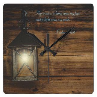 Thy Wort ist eine Lampe Quadratische Wanduhr