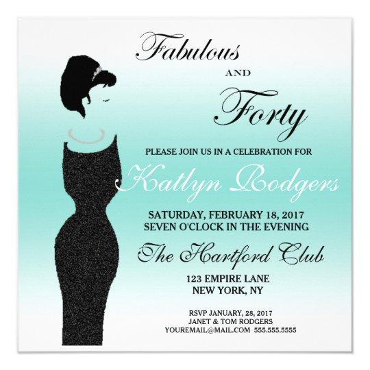 Tiara-Party fabelhaft an der 40. Quadratische 13,3 Cm Einladungskarte