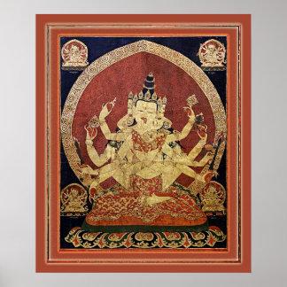 Tibetaner Thangka von Guhyasamaja Akshobhyavajra Poster